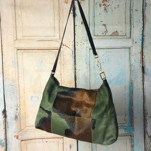 Francesco Biasia olive green & brown cow hide bag